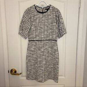 Plaid puff-sleeves sheath dress NWT